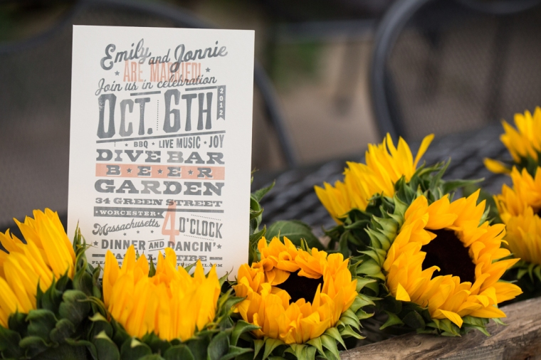 Custom Sunflower box by Hundred  Acre with Invitation by Dapper Paper.