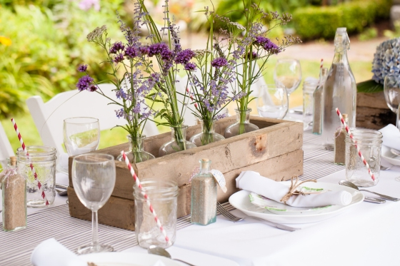 Custom driftwood flower box and place setting by Hundred Acre.