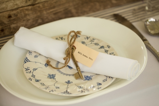 Vintage Plates & Skeleton Key Napkin Rings by Hundred Acre.