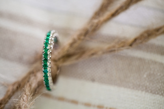 Vintage Emerald on Hand Made Ring Bearer Pillow by BB&C Bridal.