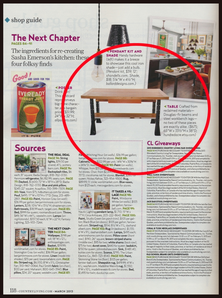 Hundred Acre Design in Country Living Magazine March 2013 Page 118