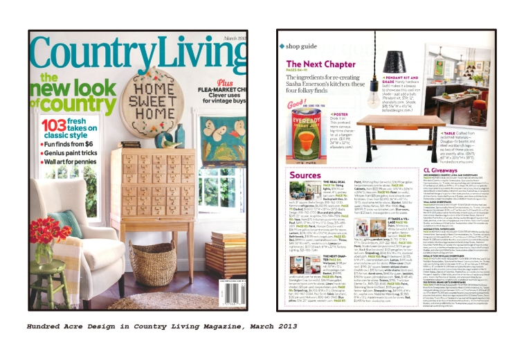 Hundred Acre Design in Country Living Magazine March 2013