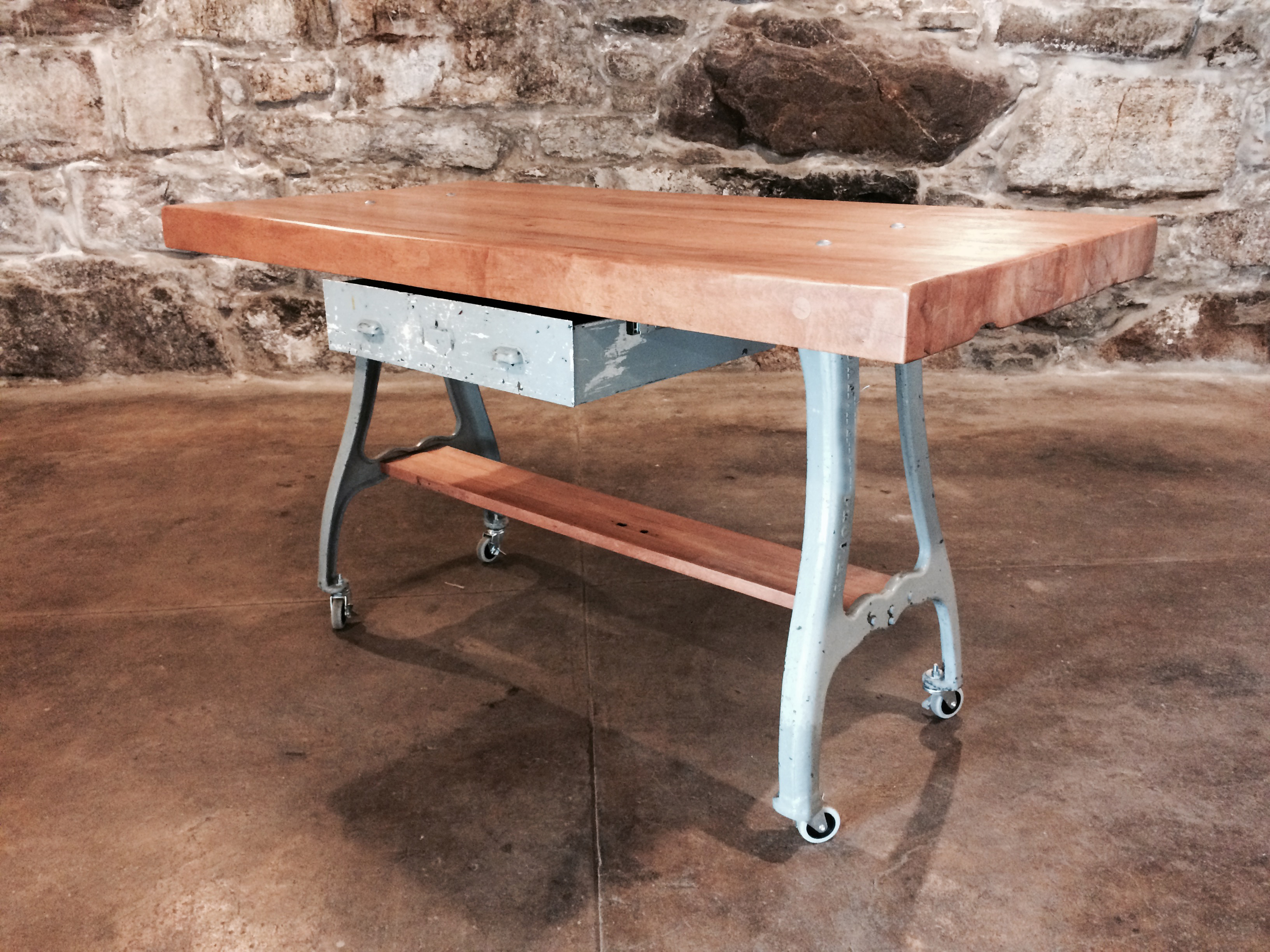 Industrial Butcher Block Kitchen Island